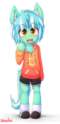 Size: 1000x2050 | Tagged: safe, artist:hoodie, lyra heartstrings, semi-anthro, blushing, clothes, colored pupils, cute, ear fluff, female, filly, filly lyra, foal, hoodie, lyrabetes, open mouth, shorts, signature, simple background, smiling, socks, solo, transparent background, weapons-grade cute, younger