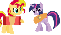 Size: 732x421 | Tagged: artist:nouseyourname, bacon, bacon hair, baconpancake, butter, clothes, costume, food, i'm pancake, lesbian, maple syrup, meat, pancakes, pony, safe, shipping, sunset shimmer, sunsetsparkle, twilight sparkle