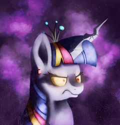 Size: 865x900 | Tagged: angry, artist:shivannie, bust, crown, evil twilight, fusion, jewelry, oc, oc only, oc:twifight sparkill, portrait, queen chrysalis, rainbow ponies, rainbow power, regalia, safe, solo, twilight sparkle, tyrant sparkle, xk-class end-of-the-world scenario