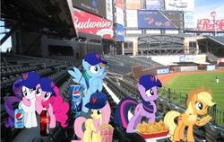 Size: 1156x732   Tagged: safe, applejack, fluttershy, pinkie pie, rainbow dash, rarity, twilight sparkle, earth pony, pegasus, pony, unicorn, baseball, baseball cap, budweiser, cap, chips, citi field, coca-cola, diet pepsi, food, hat, hot dog, irl, mane six, meat, mlb, nachos, new york city, new york mets, pepsi, photo, ponies eating meat, ponies in real life, popcorn, san diego padres, sausage, soda, soda can, stadium