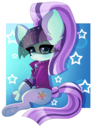 Size: 1200x1600   Tagged: safe, artist:blazemizu, coloratura, earth pony, :o, abstract background, big ears, bracelet, chest fluff, colored pupils, countess coloratura, cute, ear fluff, eyeliner, female, jewelry, looking at you, makeup, mare, open mouth, raised hoof, simple background, sitting, solo, spiked wristband, stars, transparent background, underhoof, veil, wristband