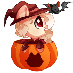 Size: 1000x1000 | Tagged: safe, artist:hikariviny, oc, oc only, oc:selena, bat, bat pony, pony, chibi, female, halloween, hat, holiday, jack-o-lantern, mare, pumpkin, simple background, solo, transparent background, witch hat