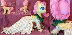Size: 1600x786 | Tagged: safe, artist:plumzee, flutterholly, fluttershy, a hearth's warming tail, season 6, clothes, cuddling, cute, dress, etsy, handmade, hearth's warming eve, irl, one of a kind, photo, plushie, shyabetes, snuggling, solo, toy, waifu