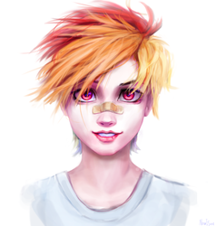 Size: 1081x1135 | Tagged: safe, artist:inowiseei, rainbow dash, human, alternate hairstyle, bandaid, bust, clothes, female, humanized, lips, looking at you, portrait, realistic, short hair, short hair rainbow dash, simple background, smiling, solo