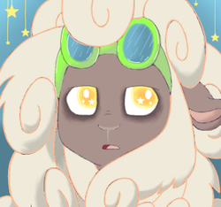 Size: 387x363 | Tagged: artist:changelingtrash, artist:ponyponyena, artist:princessamity, goggles, oc, oc only, oc:sheeper, safe, sheep, simple background, solo, stars