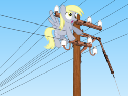 Size: 665x500 | Tagged: derpy hooves, electricity, female, funny, i just don't know what went wrong, imminent darwin award, imminent electrocution, mare, pegasus, pony, safe, solo, telephone lines, telephone pole, this will end in tears and/or death, too dumb to live