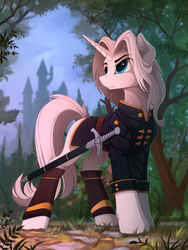 Size: 1530x2035 | Tagged: safe, artist:yakovlev-vad, oc, oc only, oc:imperious, pony, unicorn, city, clothes, colored sketch, ear fluff, fluffy, male, patreon reward, scenery, solo, stallion, sword, uniform, weapon