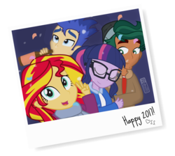 Size: 950x850   Tagged: safe, artist:dm29, flash sentry, sci-twi, sunset shimmer, timber spruce, twilight sparkle, equestria girls, 2017, alcohol, beer, cute, female, happy new year, happy new year 2017, male, new year, shipping, straight, timbertwi