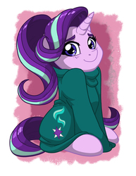 Size: 1275x1650 | Tagged: safe, artist:latecustomer, starlight glimmer, pony, unicorn, clothes, cute, female, glimmerbetes, hnnng, looking at you, mare, oversized clothes, sitting, smiling, solo, sweater