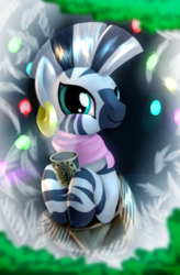 Size: 1380x2100 | Tagged: safe, artist:mgmax, zecora, zebra, blanket, blushing, christmas tree, clothes, cute, female, frost, garland, hearth's warming, looking at you, mug, scarf, smiling, solo, spruce, steam, tree, zecorable