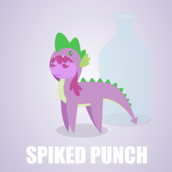 Size: 1280x1280 | Tagged: safe, artist:aha-mccoy, berry punch, berryshine, spike, nopony-ask-mclovin, berry punch is not amused, clothes, cosplay, costume, pointy ponies, pun, visual pun