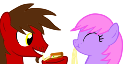 Size: 1600x828   Tagged: safe, artist:toyminator900, oc, oc only, oc:chip, oc:melody notes, pegasus, pony, cheese, duo, flower, food, pizza, simple background, transparent background