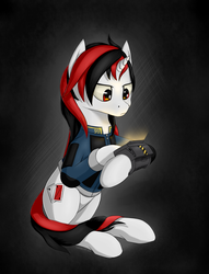 Size: 1969x2581   Tagged: safe, artist:koshakevich, oc, oc only, oc:blackjack, pony, unicorn, fallout equestria, fallout equestria: project horizons, armor, clothes, fanfic, fanfic art, female, hooves, horn, mare, pipbuck, security armor, sitting, solo, vault security armor, vault suit