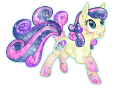 Size: 3893x3000 | Tagged: safe, artist:theshadowstone, bon bon, sweetie drops, crystal pony, pony, blushing, bow, crystallized, female, heart eyes, open mouth, rainbow power, rainbow power-ified, raised hoof, raised leg, simple background, smiling, solo, starry eyes, tail bow, transparent background, wingding eyes