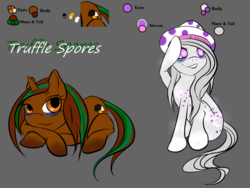 Size: 1024x768 | Tagged: artist:truffles, clean, female, mushroom, oc, oc only, oc:truffle spores, pony, reference sheet, safe, simple background, solo, truffle, unicorn