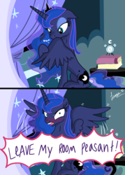 Size: 3445x4823   Tagged: safe, artist:darkest-lunar-flower, princess luna, pony, absurd resolution, alarm clock, angry, bed, bedroom, behaving like a bird, blushing, book, caught, clock, cute, dialogue, feather, female, floppy ears, glare, lidded eyes, looking at you, lunabetes, missing accessory, nom, offscreen character, open mouth, preening, reeee, sitting, smiling, solo, spread wings, yelling