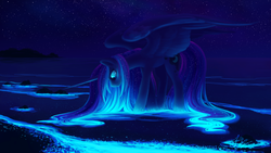 Size: 2560x1440 | Tagged: safe, artist:joellethenose, princess luna, alicorn, pony, beautiful, color porn, female, glow, glowing mane, looking down, loose hair, mare, missing accessory, night, night sky, ocean, outdoors, signature, sky, smiling, solo, spread wings, standing, starry night, stars, water, wet mane