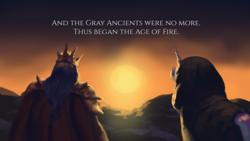 Size: 3840x2160 | Tagged: safe, artist:fpbarros, alicorn, dragon, pony, comic:in the beginning, crossover, dark souls, gwyn, sunrise, witch of izalith