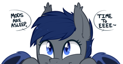 Size: 1234x648 | Tagged: safe, artist:higgly-chan, oc, oc only, oc:shift, bat pony, pony, c:, cute, dialogue, ear tufts, eeee, excited, featured image, happy, looking up, mascot, mods are asleep, ocbetes, peeking, simple background, slit eyes, slit pupils, smiling, solo, soon, speech bubble, spread wings, text, weapons-grade cute, white background