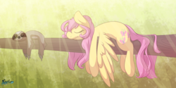 Size: 4400x2200 | Tagged: safe, artist:fluffyxai, fluttershy, pegasus, pony, sloth, :t, absurd resolution, animal, crepuscular rays, curly hair, cute, eyes closed, female, forest, hanging, lazy, limp, prone, sleeping, smiling, solo, tree branch