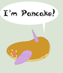 Size: 510x588 | Tagged: artist:duomochiaro, food, i'm pancake, inanimate tf, literal, pancakes, princess twilight, safe, simple background, solo, speech bubble, teal background, transformation, twilight sparkle