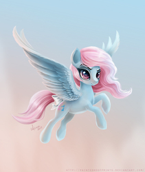 Size: 1011x1200   Tagged: safe, artist:paintedhoofprints, wind whistler, pegasus, pony, g1, bow, commission, female, flying, g1 to g4, generation leap, solo, spread wings, tail bow
