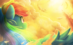 Size: 1990x1230 | Tagged: safe, artist:moondreamer16, rainbow dash, cloud, crepuscular rays, female, flying, lens flare, looking up, scenery, signature, sky, smiling, solo, sun