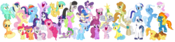Size: 16600x4000 | Tagged: safe, artist:tardifice, apple bloom, applejack, bon bon, braeburn, carrot top, daisy, derpy hooves, diamond tiara, flower wishes, fluttershy, golden harvest, lemon hearts, linky, mayor mare, minuette, octavia melody, pinkie pie, rainbow dash, rarity, sapphire shores, scootaloo, shining armor, shoeshine, spike, spitfire, suri polomare, sweetie belle, sweetie drops, trixie, twilight sparkle, twinkleshine, alicorn, dragon, pony, absurd resolution, celebration, cutie mark crusaders, derpy star, happy, mane six, simple background, smiling, transparent background, twilight sparkle (alicorn), vector