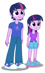 Size: 1684x2701 | Tagged: alternate universe, artist:drewmwhit, artist:trotsworth, clothes, cute, dead source, dusk shine, equestria girls, pants, prince dusk, rule 63, safe, self paradox, shoes, shorts, simple background, sneakers, tanktop, transparent background, twilight sparkle, vector, younger