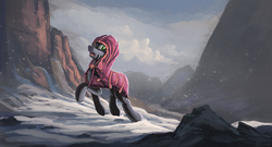 Size: 1600x865 | Tagged: dead source, safe, artist:shamanguli, oc, oc only, pony, clothes, hoodie, looking back, male, mountain, mountain range, open mouth, raised hoof, scenery, snow, snowfall, solo, stallion, travelling