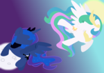 Size: 2750x1950 | Tagged: safe, artist:ashleigharts, princess celestia, princess luna, duo, flat colors, gradient background, looking at each other, moon, sun, wallpaper
