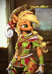 Size: 850x1200 | Tagged: anthro, applejack, artist:assasinmonkey, beautiful, belly button, choker, clothes, costume porn, cute, detailed, dress, feather, feather hat, featured image, female, freckles, gloves, hat, jackabetes, navel cutout, safe, side slit, solo, technical advanced