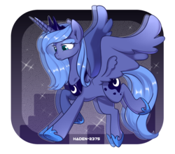 Size: 1920x1700   Tagged: safe, artist:haden-2375, princess luna, alicorn, pony, abstract background, clothes, crown, cute, eyeshadow, female, horn, jewelry, lidded eyes, looking down, lunabetes, makeup, mare, peytral, princess, regalia, royalty, s1 luna, shoes, solo, sparkles, wings