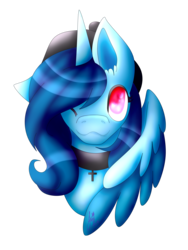 Size: 1772x2362 | Tagged: safe, artist:hikkamm, oc, oc only, oc:blossom, alicorn, pony, bust, choker, colored pupils, female, mare, one eye closed, portrait, simple background, solo, transparent background, wink