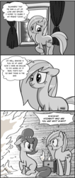 Size: 814x1920   Tagged: safe, artist:pencils, oc, oc only, oc:brownie bun, oc:merry bakes, :t, comic, curtains, fire, grayscale, jewelry, missing cutie mark, monochrome, necklace, panic, pearl necklace, sad, screaming, scrunchy face, smiling, thought bubble, window, xk-class end-of-the-kitchen scenario
