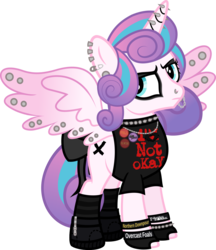 Size: 906x1046 | Tagged: safe, artist:lightningbolt, derpibooru exclusive, princess flurry heart, alicorn, pony, .svg available, annoyed, boots, bow, bracelet, button, chains, choker, clandestine industries, clothes, cobra starship, ear piercing, earring, edgy, emo, eyeshadow, fake cutie mark, fall out boy, female, fingerless gloves, frown, glare, gloves, grumpy, hair over one eye, horn piercing, indifferent, it's a phase, jewelry, lip piercing, looking at you, makeup, my chemical romance, necklace, nose piercing, older, ow the edge, paint on fur, painted horn, panic! at the disco, piercing, princess emo heart, punk, rebellious teen, reference, ribbon, safety pin, shirt, shoes, simple background, socks, solo, spiked choker, spiked wristband, spread wings, striped socks, svg, tail bow, teenage flurry heart, teenager, transparent background, vector, wall of tags, wing piercing, wristband, zipper