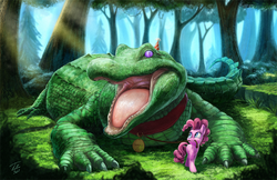 Size: 1200x777   Tagged: safe, artist:tsitra360, gummy, pinkie pie, alligator, earth pony, adoracreepy, collar, creepy, crepuscular rays, cute, forest, hat, hilarious in hindsight, leash, mouth hold, older, open mouth, party hat, pet, scenery, signature, size difference, tree