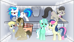 Size: 1366x768 | Tagged: safe, artist:birthofthepheonix, artist:floppychiptunes, artist:fureox, artist:ryuuichi-shasame, artist:shelmo69, artist:silvervectors, bon bon, derpy hooves, dj pon-3, doctor whooves, lyra heartstrings, octavia melody, sweetie drops, time turner, vinyl scratch, earth pony, pegasus, pony, unicorn, background six, bowtie, cutie mark, female, freezer, hooves, horn, male, mare, open mouth, sitting, smiling, spread wings, stallion, teeth, vector, wallpaper, wat, wings, worried