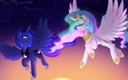 Size: 3840x2400 | Tagged: alicorn, artist:thebatfang, cute, duo, flying, lunabetes, pony, princess celestia, princess luna, royal sisters, safe, smiling, spread wings, stars, sunrise, twilight (astronomy), wings