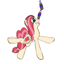 Size: 1500x1500 | Tagged: safe, artist:frecklesfanatic, oc, oc only, oc:bleeding heart, earth pony, pony, balancing, cute, ponies balancing stuff on their nose, simple background, smiling, solo, sparkle cola, white background