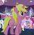 Size: 595x613 | Tagged: safe, screencap, frazzle rock, moonlight raven, north point, sunshine smiles, twinkleshine, pony, unicorn, canterlot boutique, background pony, female, mare, solo focus