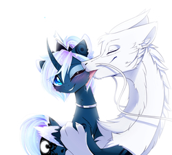 Size: 2480x2240 | Tagged: safe, artist:magnaluna, princess luna, oc, oc:zefiroth, alicorn, dragon, pony, alternate hairstyle, blushing, body markings, canon x oc, cheek fluff, chest fluff, claws, collar, colored pupils, colored wings, colored wingtips, couple, crown, curved horn, cute, ear fluff, embrace, ethereal mane, eyes closed, eyeshadow, female, floppy ears, fluffy, galaxy mane, hair bun, horn, jewelry, licking, lunabetes, makeup, male, mare, multicolored wings, neck fluff, necklace, one eye closed, paws, regalia, shipping, simple background, smiling, straight, tongue out, white background
