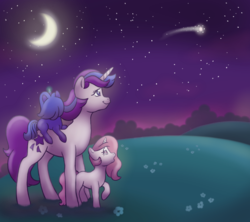 Size: 971x864 | Tagged: safe, artist:donkeyinthemiddle, glory, princess celestia, princess luna, pony, unicorn, g1, cewestia, crescent moon, cute, female, filly, filly celestia, filly luna, g1 to g4, generation leap, looking at something, looking up, luna riding glory, moon, night, outdoors, pink-mane celestia, ponies riding ponies, riding, shooting star, starry night, transparent moon, trio, woona, younger