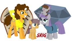 Size: 900x517 | Tagged: artist:superrosey16, baby, baby pony, bow, cheese sandwich, clothes, colt, crack shipping, dress, earth pony, female, filly, hair bow, male, maud pie, maudwich, oc, oc:clay, oc:rock candy, offspring, parent:cheese sandwich, parent:maud pie, parents:maudwich, pony, safe, shipping, straight, watermark, wrong cutie mark