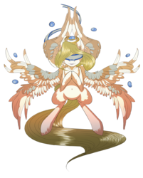 Size: 1596x1983 | Tagged: angel, artist:beardie, halo, multiple wings, oc, oc only, oc:seraph, safe, seraph, water