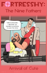 Size: 1600x2473 | Tagged: safe, artist:tricky-vic, fluttershy, comic:fortresshy, crossover, heavy, medic, team fortress 2