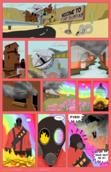 Size: 1600x2473 | Tagged: safe, artist:tricky-vic, comic:fortresshy, crossover, pyro, team fortress 2