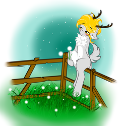 Size: 4000x4200   Tagged: safe, artist:frowfrow, oc, oc only, oc:golden-maple, deer, pony, absurd resolution, belly button, bipedal, blushing, fence, sitting, solo