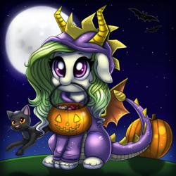 Size: 3000x3000 | Tagged: safe, artist:ravensunart, oc, oc only, bat, cat, dragon, pony, clothes, costume, cute, floppy ears, full moon, halloween, holiday, jack-o-lantern, looking up, moon, mouth hold, night, night sky, nom, pumpkin, pumpkin bucket, sitting, smiling, solo, spyro the dragon, stars, unshorn fetlocks, weapons-grade cute
