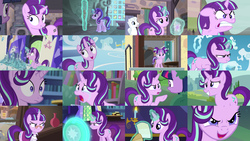 Size: 5120x2880 | Tagged: safe, screencap, double diamond, snowfall frost, starlight glimmer, twilight sparkle, alicorn, pony, a hearth's warming tail, every little thing she does, no second prances, the crystalling, the cutie map, the cutie re-mark, to where and back again, absurd resolution, angry, collage, crying, cute, eye contact, faic, floppy ears, frown, glare, glasses, grin, gritted teeth, jar, levitation, looking at each other, magic, open mouth, pointing, rage, raised hoof, reading, s5 starlight, sad, sadlight glimmer, shield, smiling, smirk, squee, telekinesis, twilight sparkle (alicorn), wide eyes